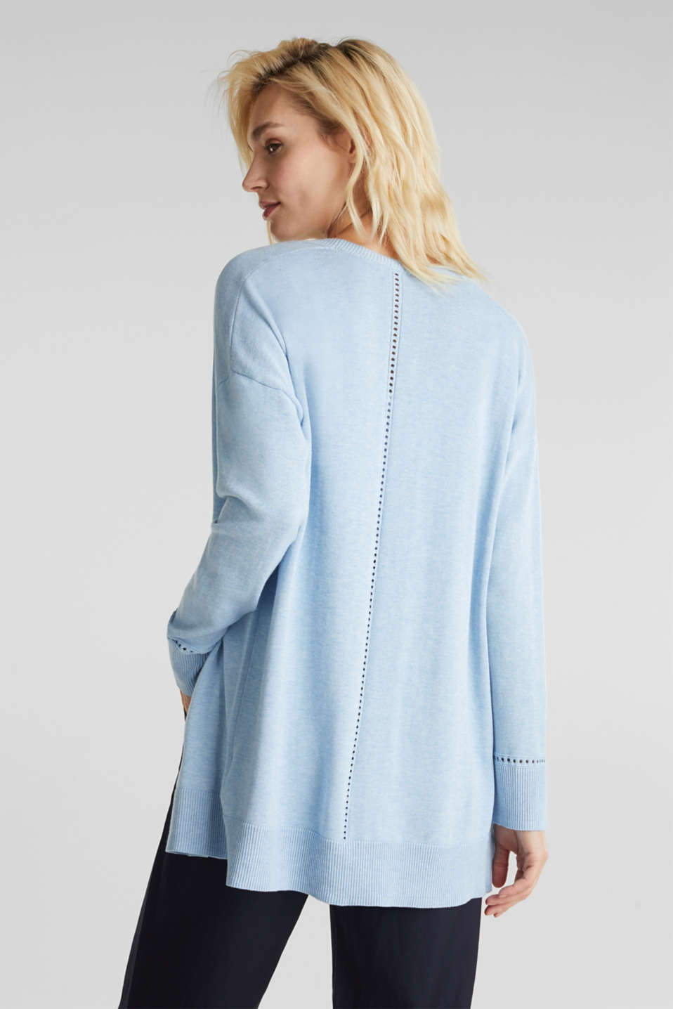 Cardigan with open-work pattern details, LIGHT BLUE, detail image number 3