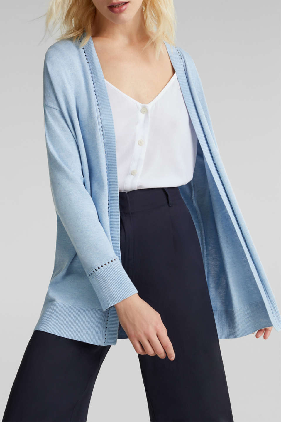 Cardigan with open-work pattern details, LIGHT BLUE, detail image number 2