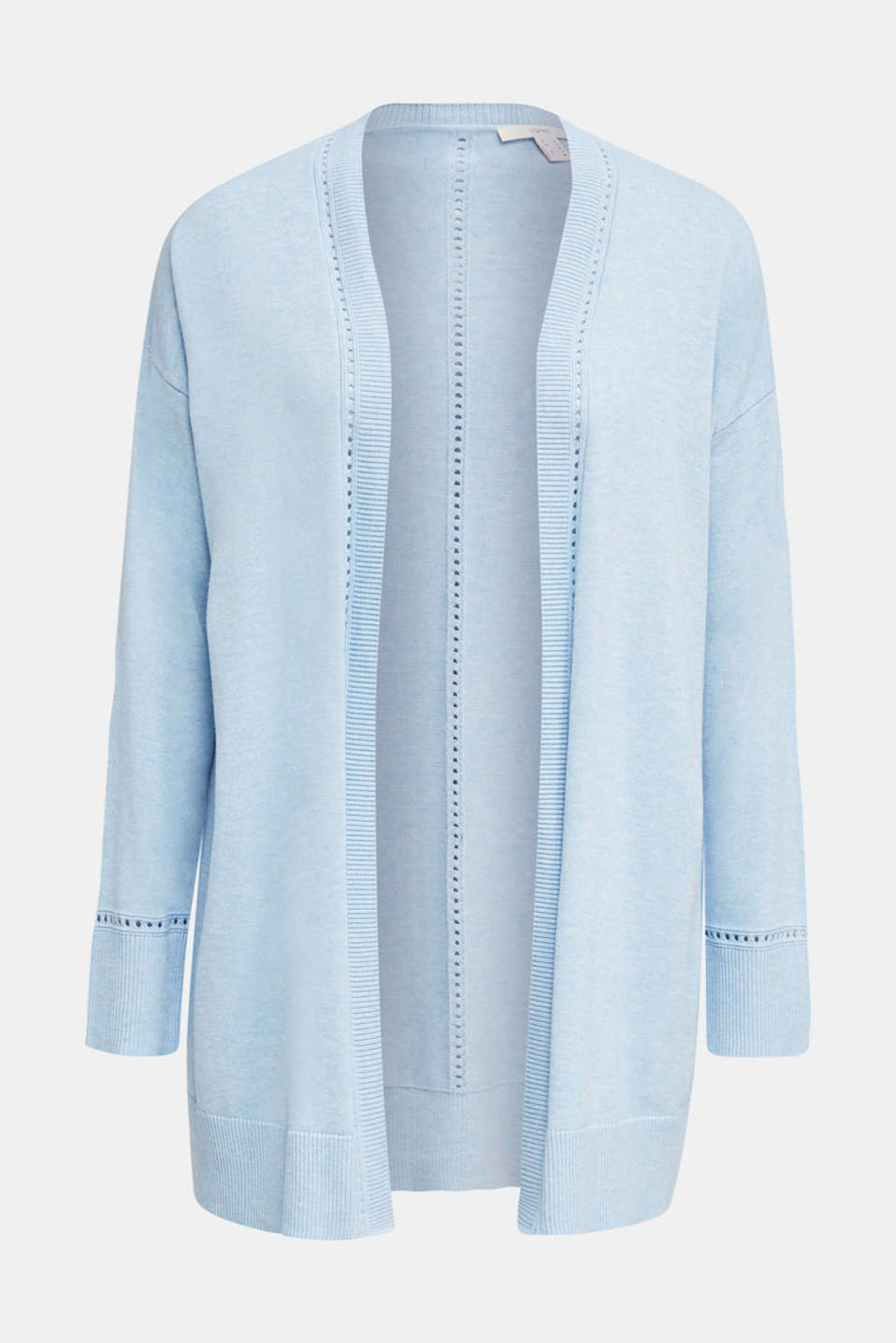 Cardigan with open-work pattern details, LIGHT BLUE, detail image number 5
