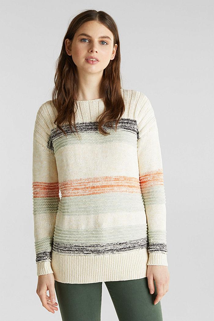 Textured jumper, 100% cotton, LIGHT AQUA GREEN, detail image number 0