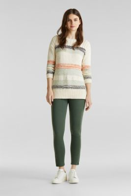 Jumper with textured stripes, 100% cotton, LIGHT AQUA GREEN 3, detail