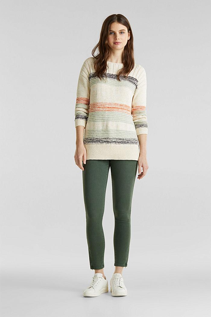 Textured jumper, 100% cotton, LIGHT AQUA GREEN, detail image number 1