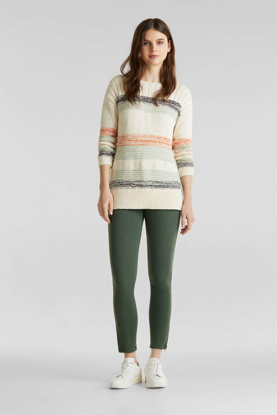 Jumper with textured stripes, 100% cotton, LIGHT AQUA GREEN 3, detail image number 1
