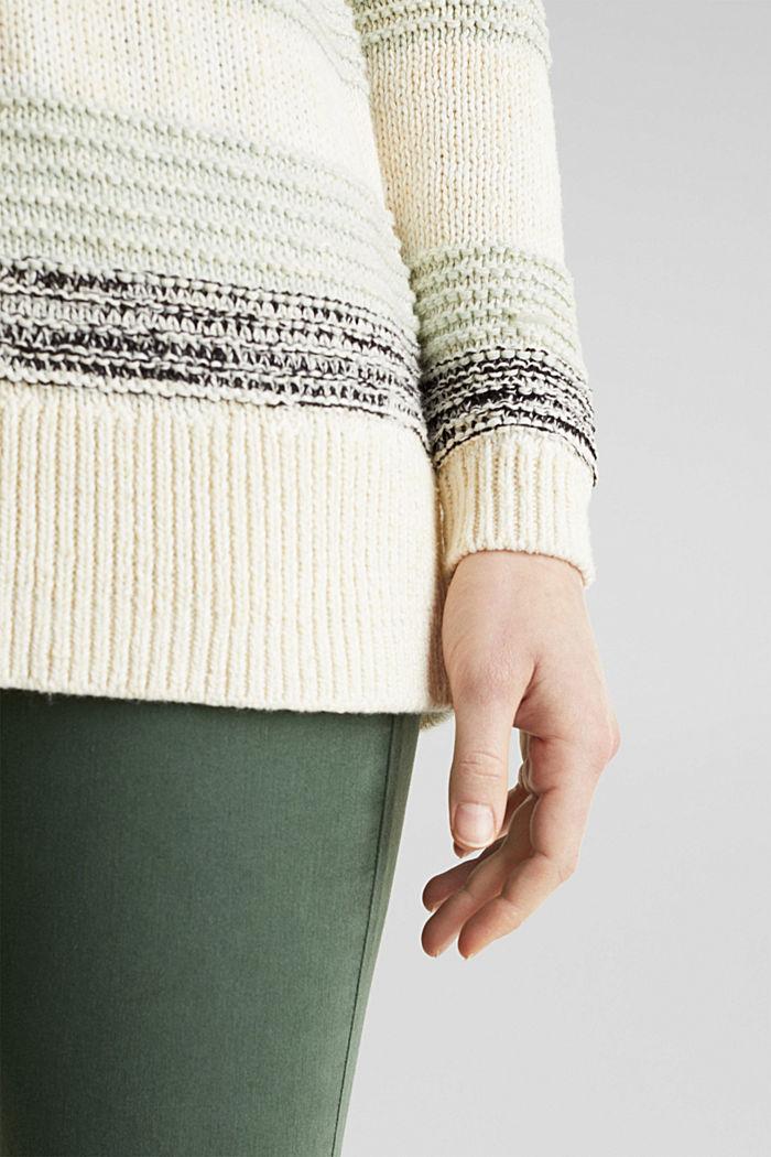 Textured jumper, 100% cotton, LIGHT AQUA GREEN, detail image number 4