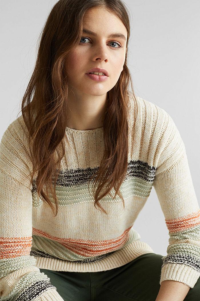Textured jumper, 100% cotton, LIGHT AQUA GREEN, detail image number 5