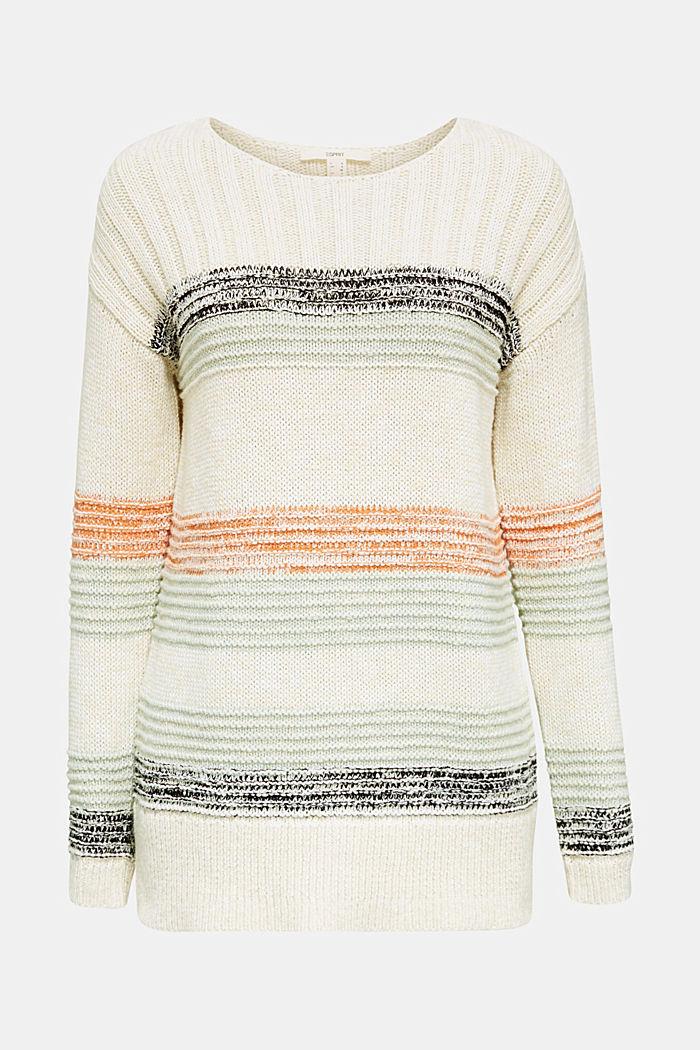 Textured jumper, 100% cotton, LIGHT AQUA GREEN, detail image number 6