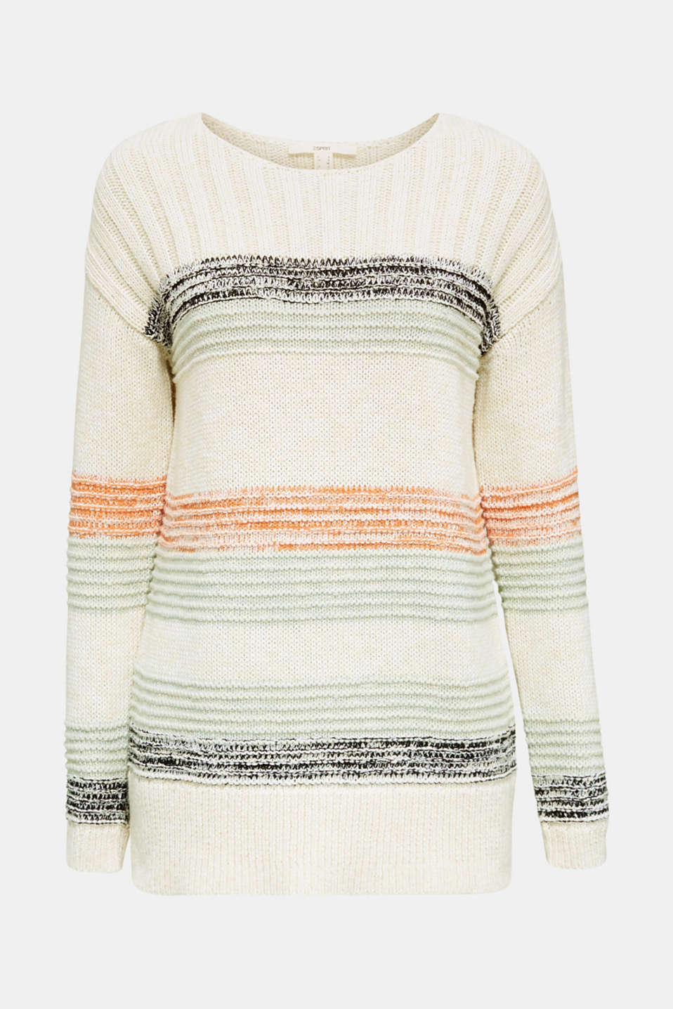 Jumper with textured stripes, 100% cotton, LIGHT AQUA GREEN 3, detail image number 6