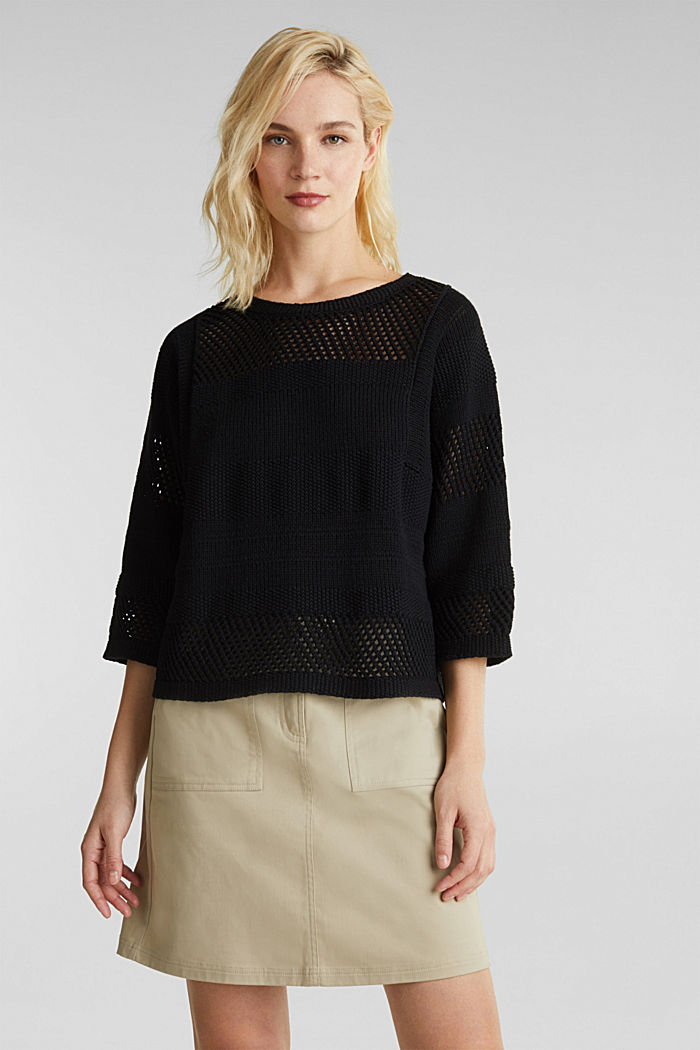 Blended linen: jumper with an open-work pattern, BLACK, detail image number 0
