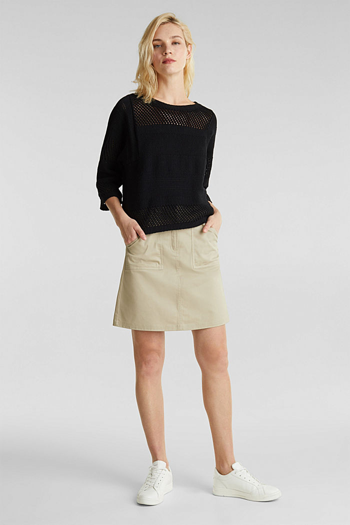 Blended linen: jumper with an open-work pattern, BLACK, detail image number 1