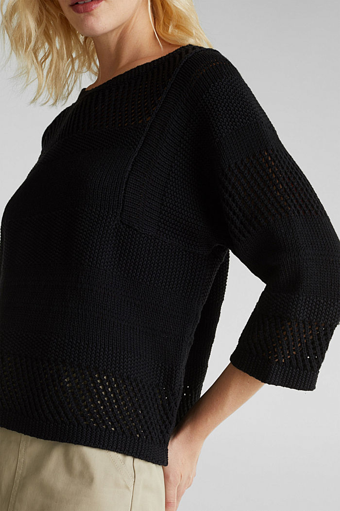 Blended linen: jumper with an open-work pattern, BLACK, detail image number 2