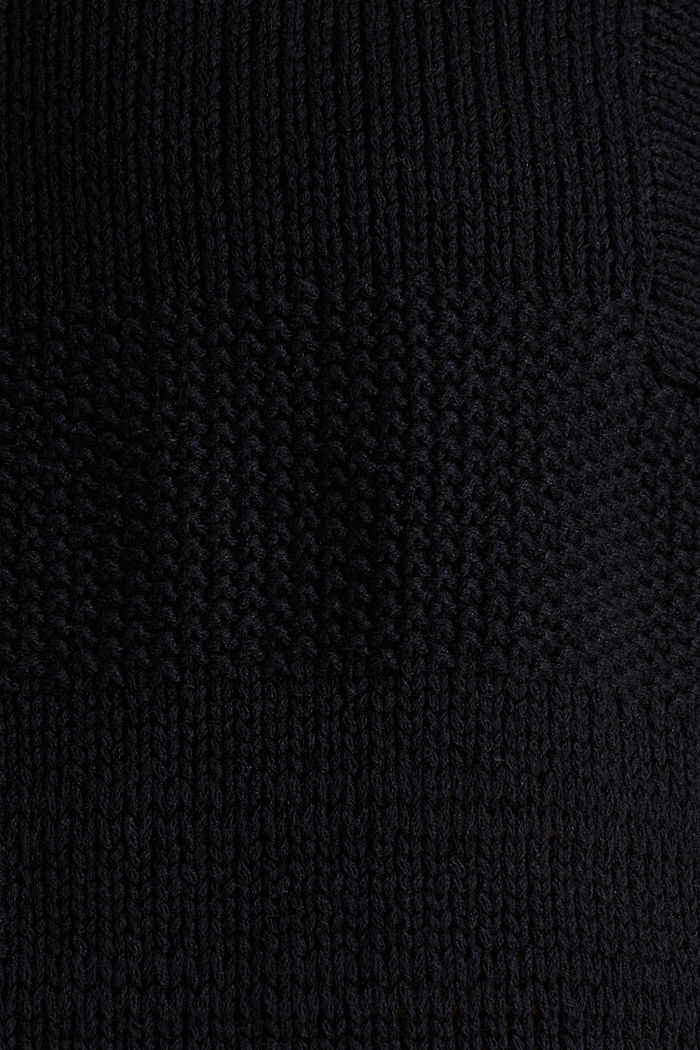 Blended linen: jumper with an open-work pattern, BLACK, detail image number 4