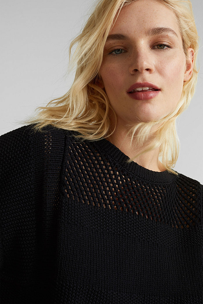 Blended linen: jumper with an open-work pattern, BLACK, detail image number 5
