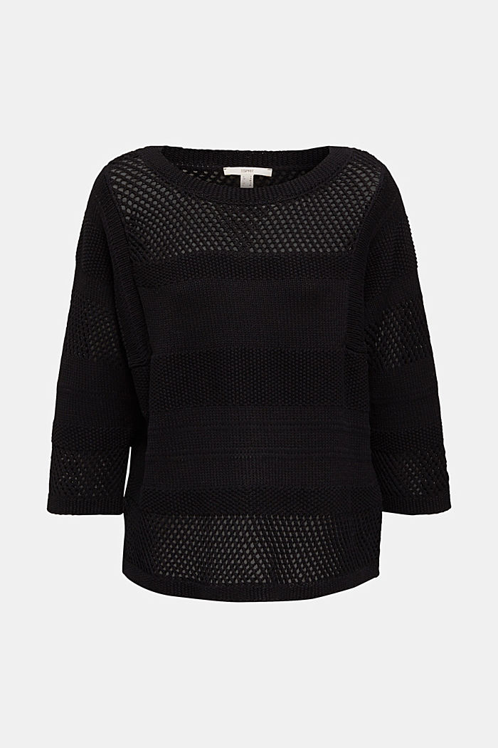 Blended linen: jumper with an open-work pattern, BLACK, detail image number 6
