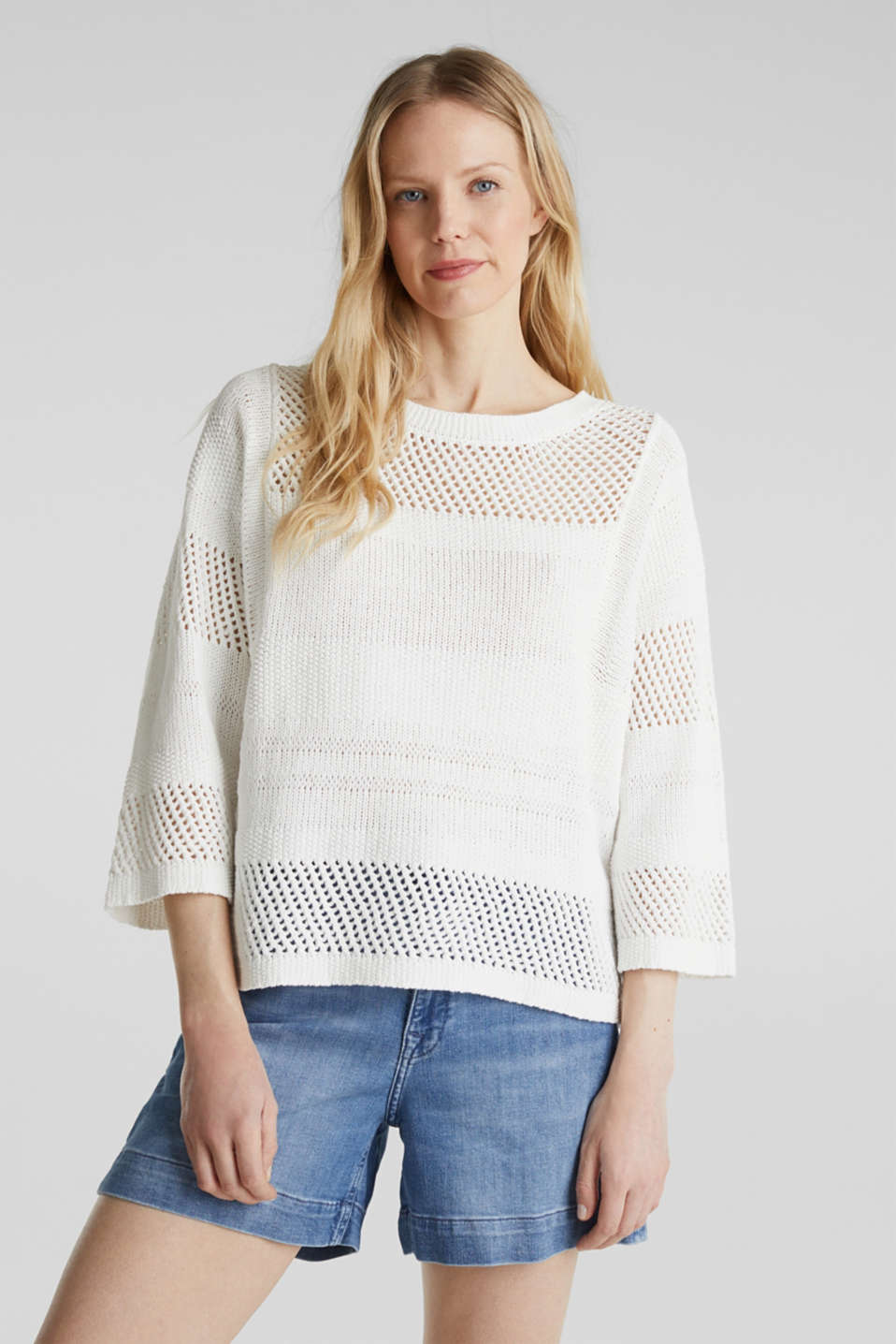 Blended linen: jumper with an open-work pattern, OFF WHITE, detail image number 0