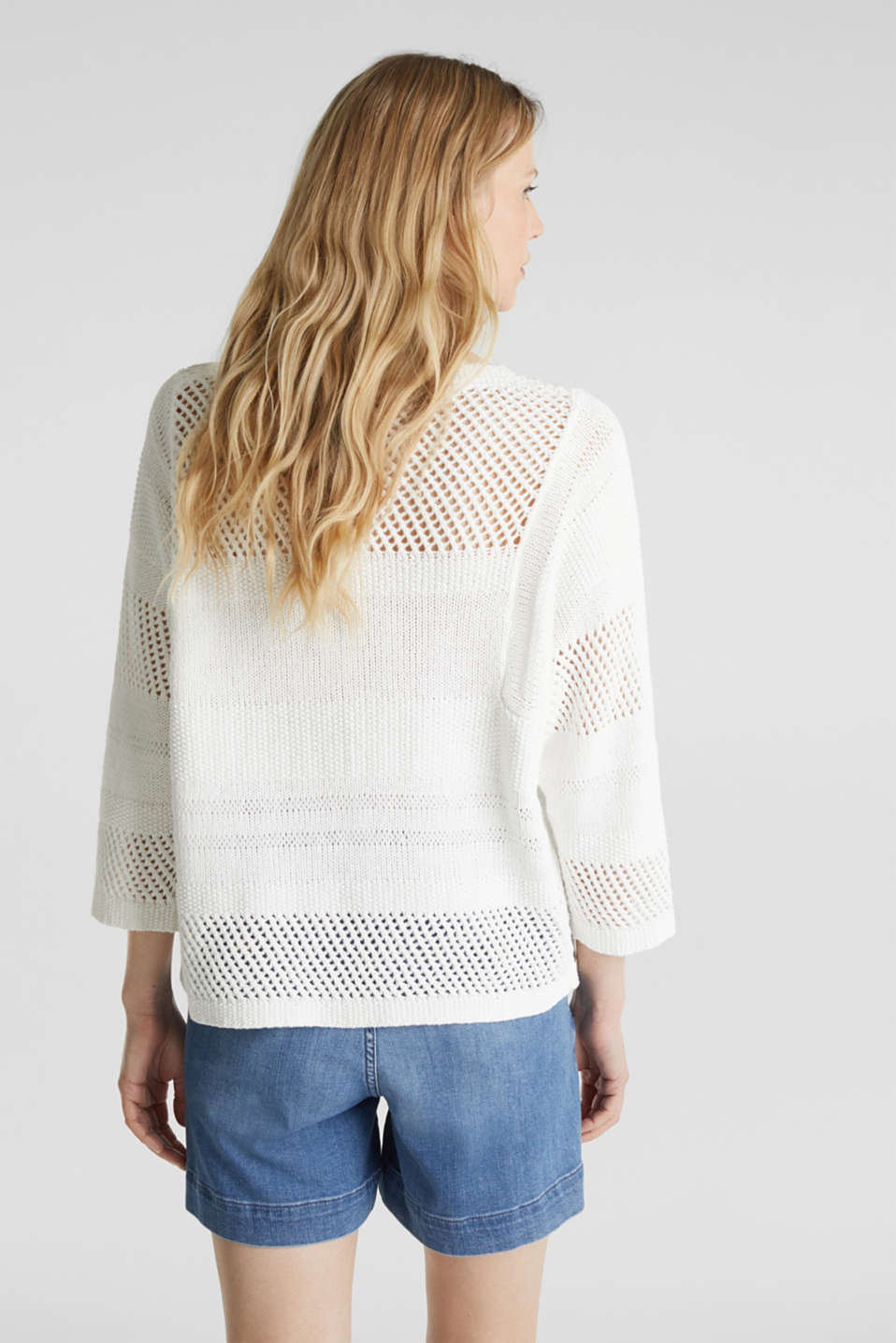 Blended linen: jumper with an open-work pattern, OFF WHITE, detail image number 3