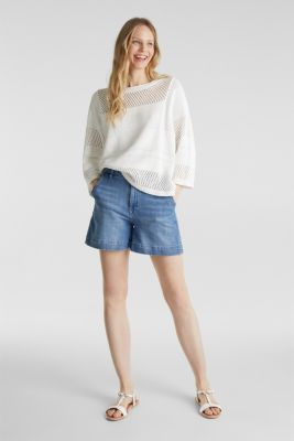 Blended linen: jumper with an open-work pattern, OFF WHITE, detail