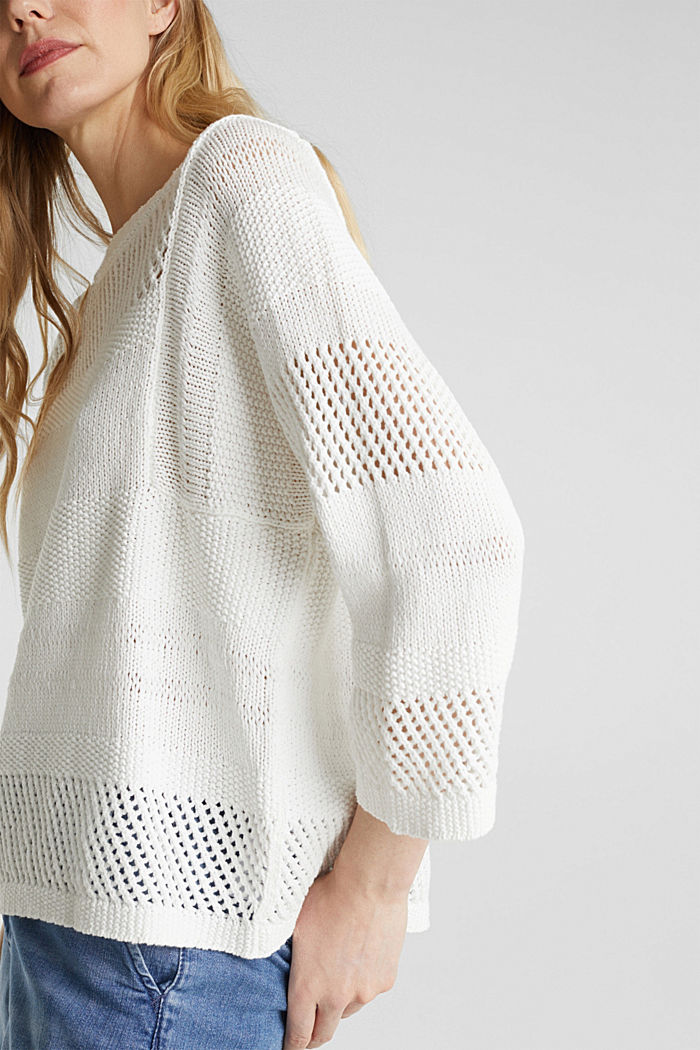 Blended linen: jumper with an open-work pattern, OFF WHITE, detail image number 2