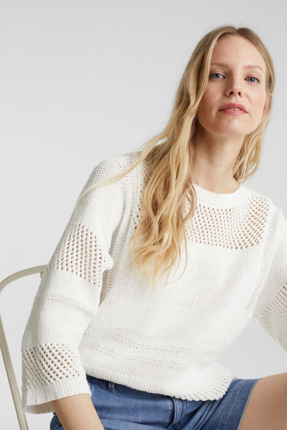 Blended linen: jumper with an open-work pattern, OFF WHITE, detail image number 5