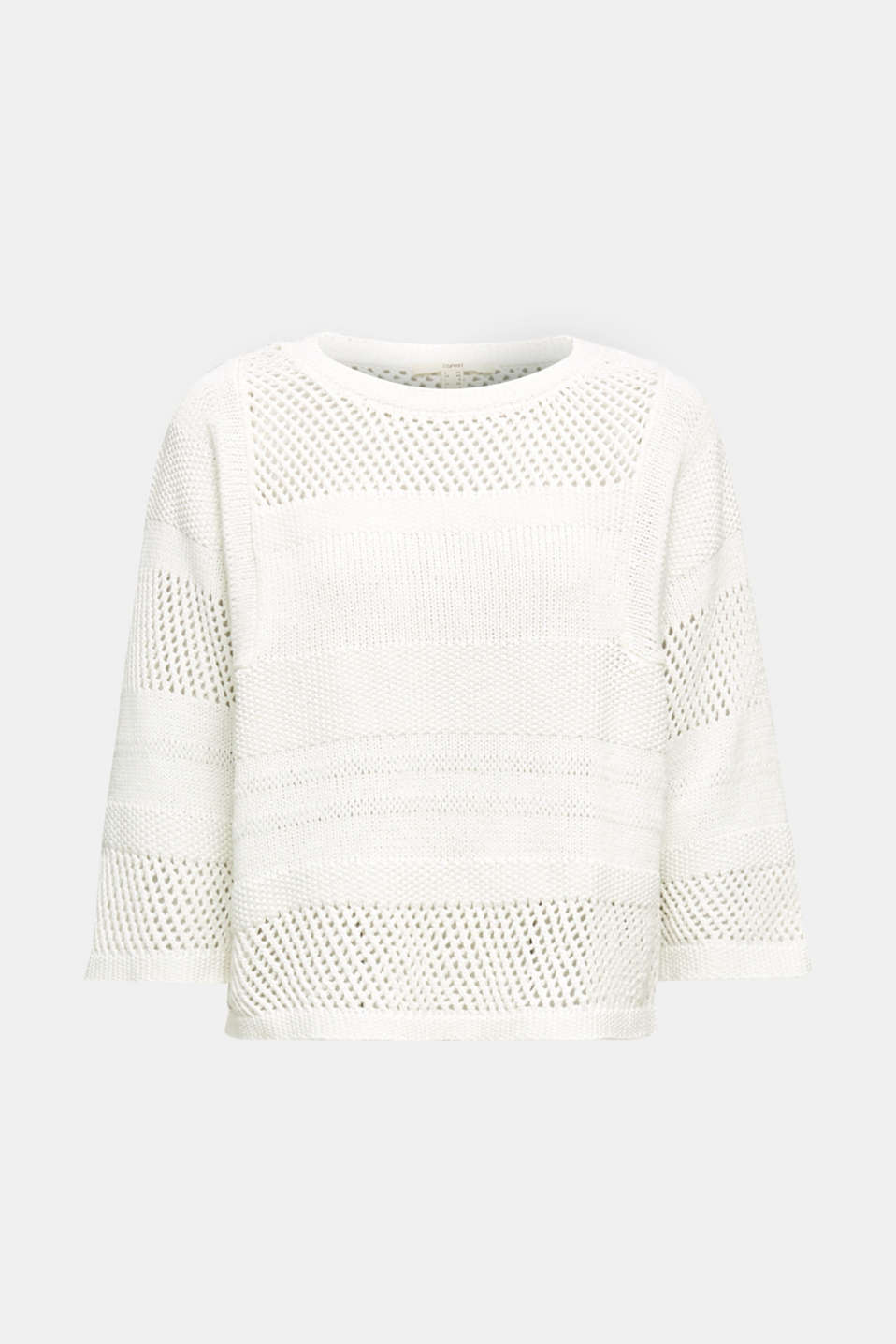 Blended linen: jumper with an open-work pattern, OFF WHITE, detail image number 6