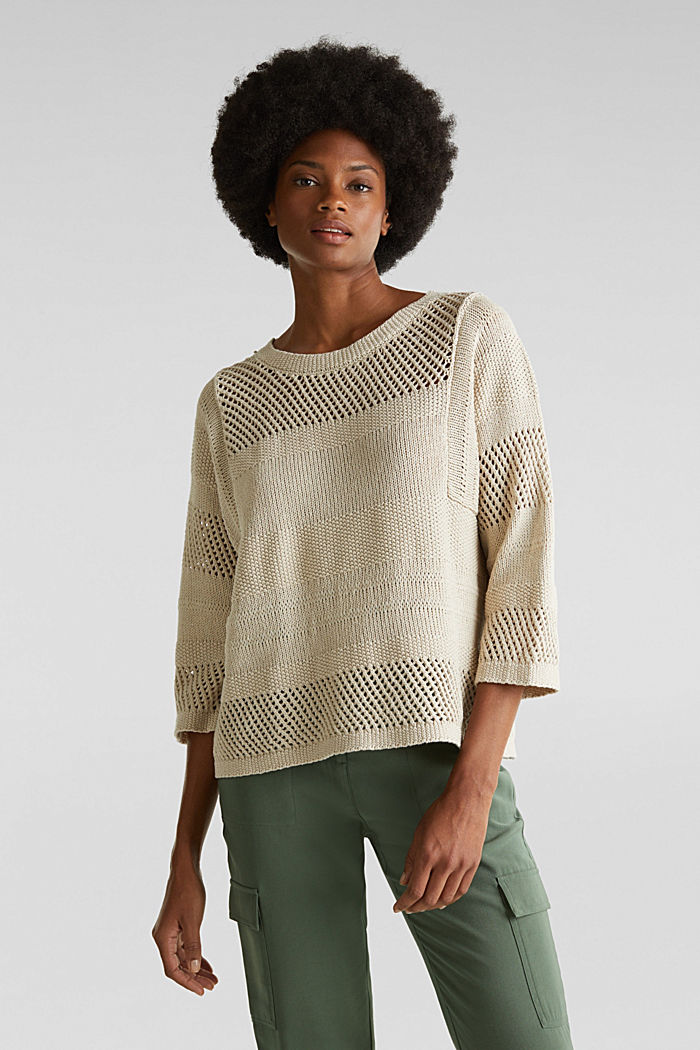 Blended linen: jumper with an open-work pattern, SAND, detail image number 0