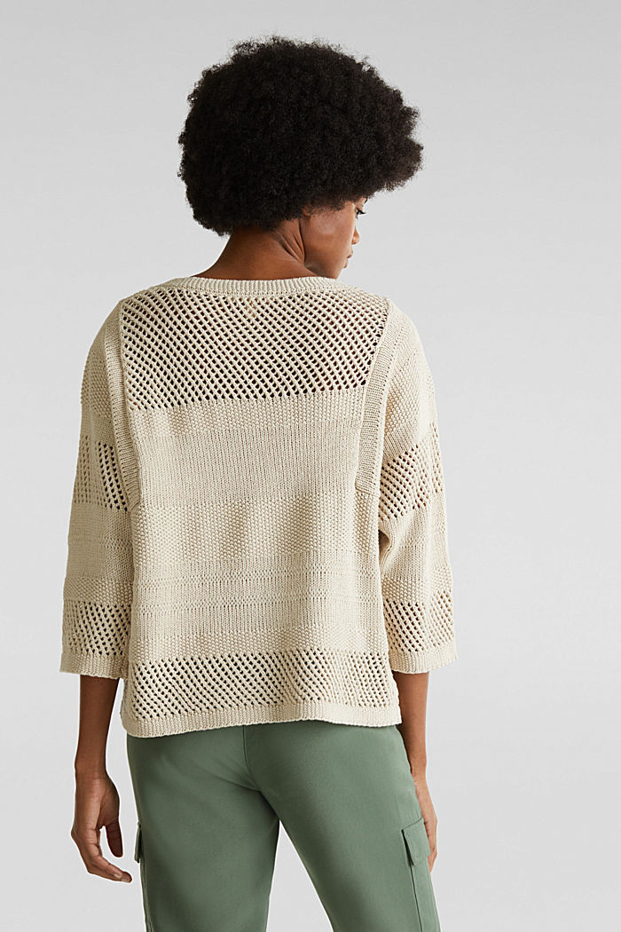 Blended linen: jumper with an open-work pattern, SAND, detail image number 3