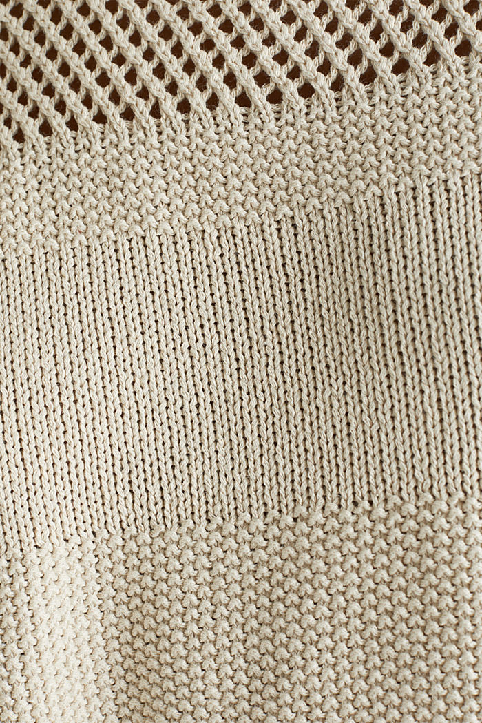 Blended linen: jumper with an open-work pattern, SAND, detail image number 4