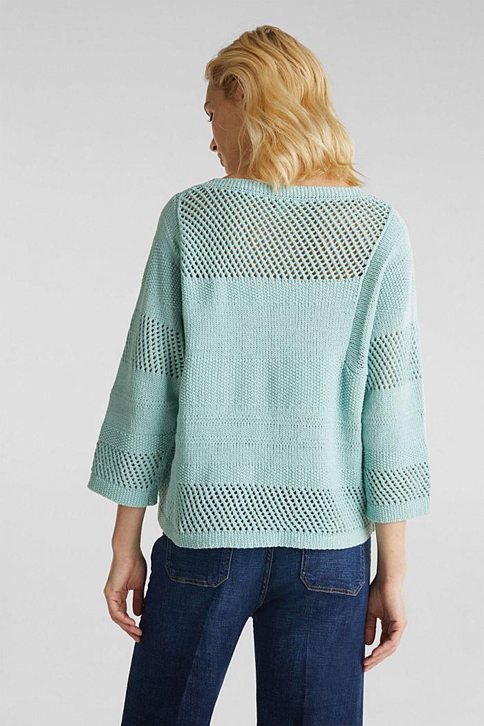 Blended linen: jumper with an open-work pattern, LIGHT AQUA GREEN, detail image number 3