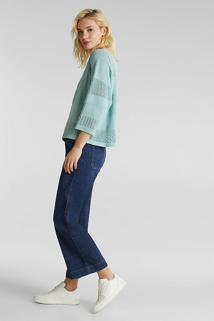 Blended linen: jumper with an open-work pattern, LIGHT AQUA GREEN, detail image number 5