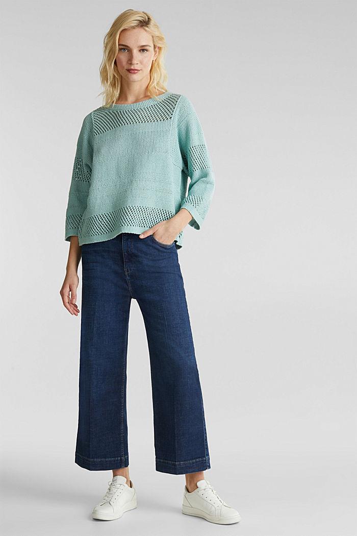 Blended linen: jumper with an open-work pattern, LIGHT AQUA GREEN, detail image number 1