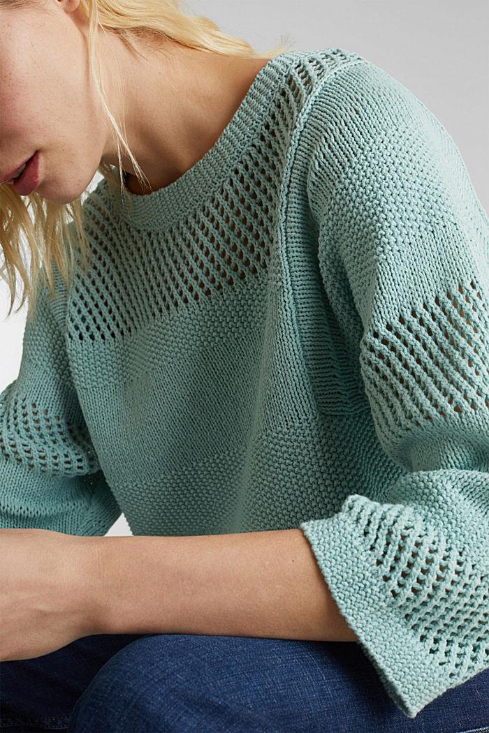 Blended linen: jumper with an open-work pattern, LIGHT AQUA GREEN, detail image number 2