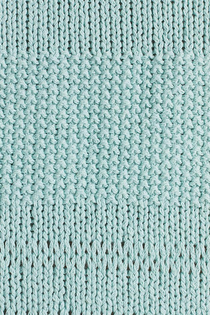 Blended linen: jumper with an open-work pattern, LIGHT AQUA GREEN, detail image number 4