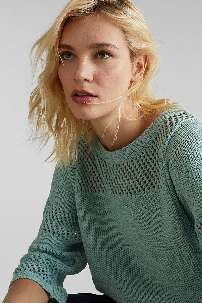 Blended linen: jumper with an open-work pattern, LIGHT AQUA GREEN, detail image number 6