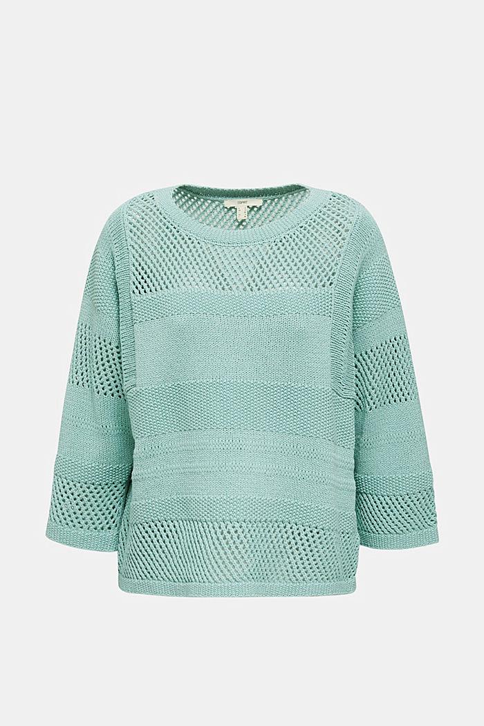 Med hør: Pullover med hulmønster, LIGHT AQUA GREEN, detail image number 0