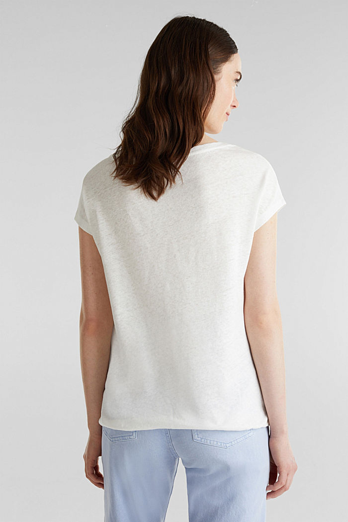 Linen blend: Stretchy top, OFF WHITE, detail image number 3