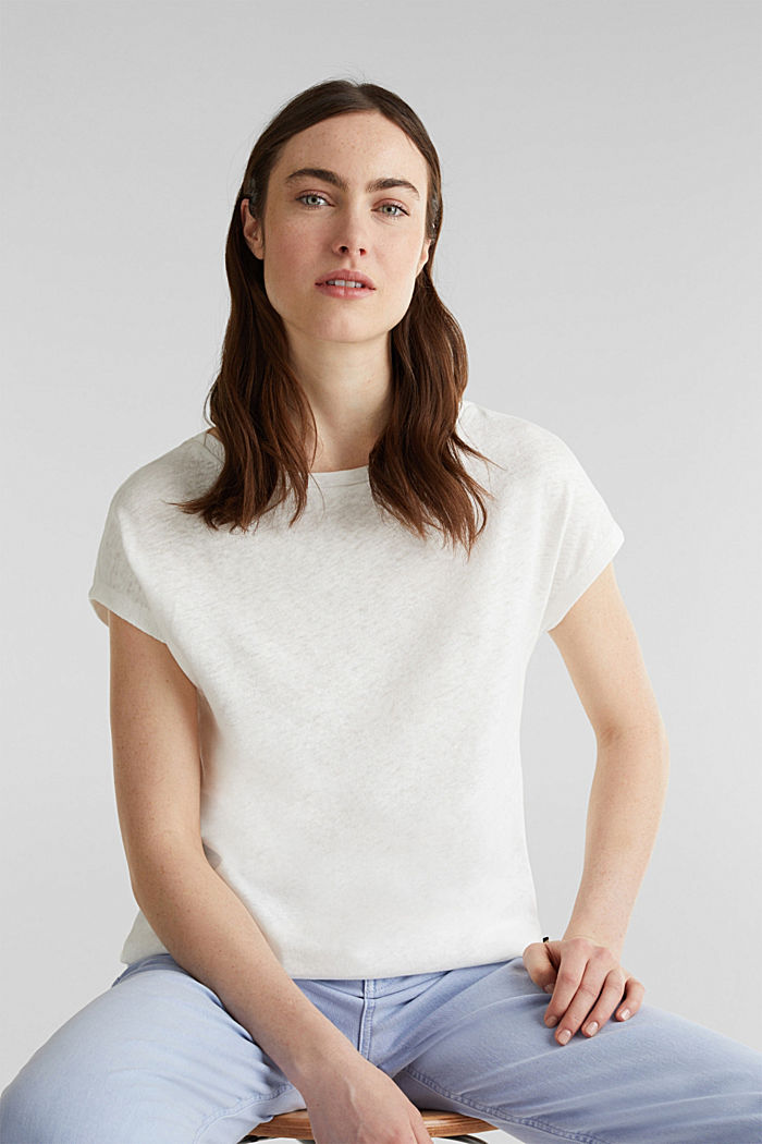 Linen blend: Stretchy top, OFF WHITE, detail image number 5