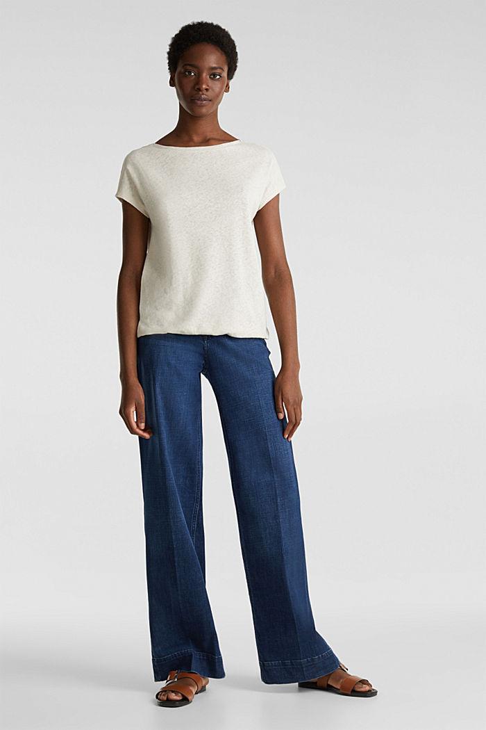 Linen blend: Stretchy top, SAND, detail image number 1