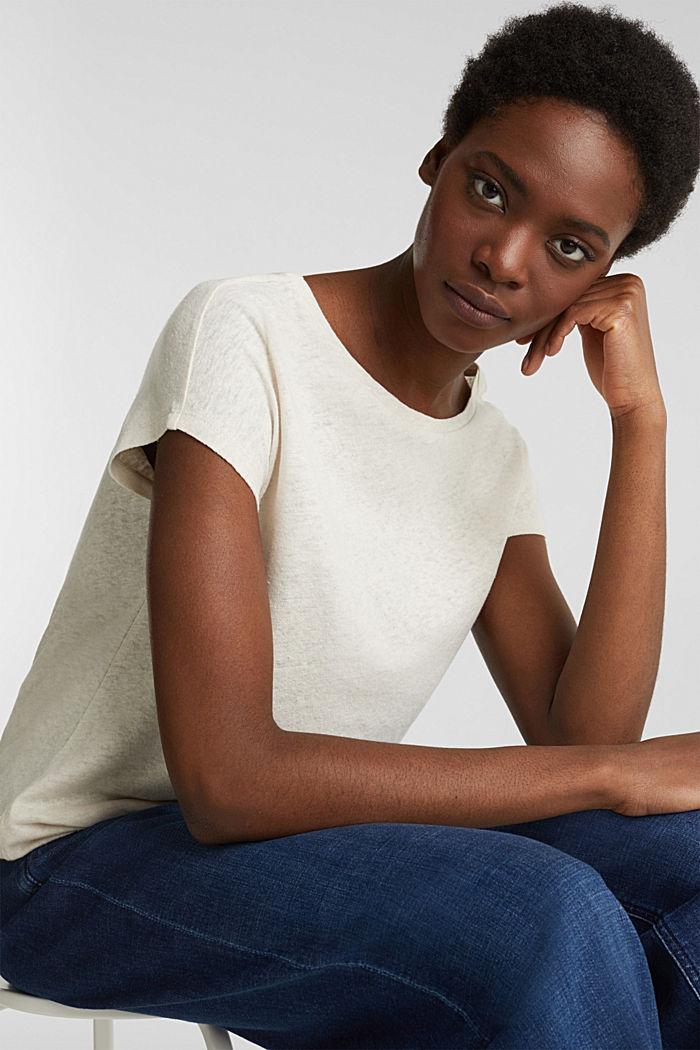 Linen blend: Stretchy top, SAND, detail image number 6