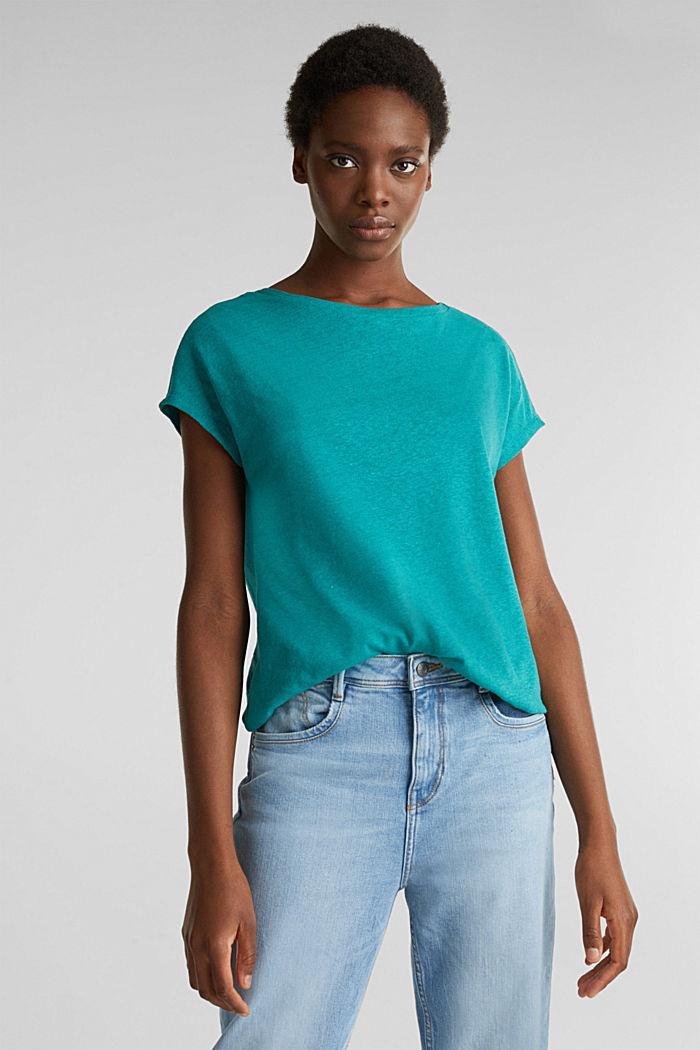 Aus Leinen-Mix: Gummizug-Shirt, TEAL GREEN, detail image number 0