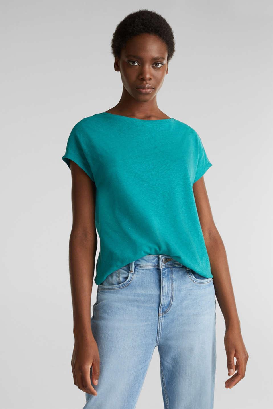 Linen blend: Stretchy top, TEAL GREEN 4, detail image number 0