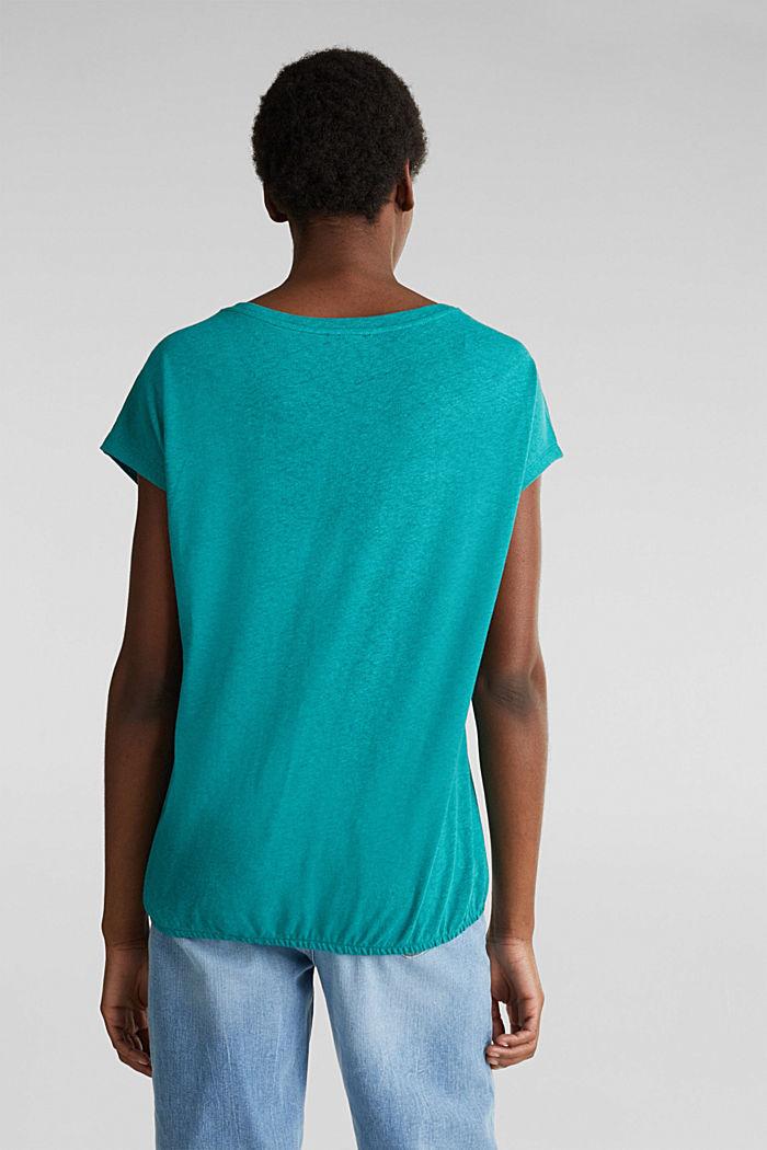Aus Leinen-Mix: Gummizug-Shirt, TEAL GREEN, detail image number 3