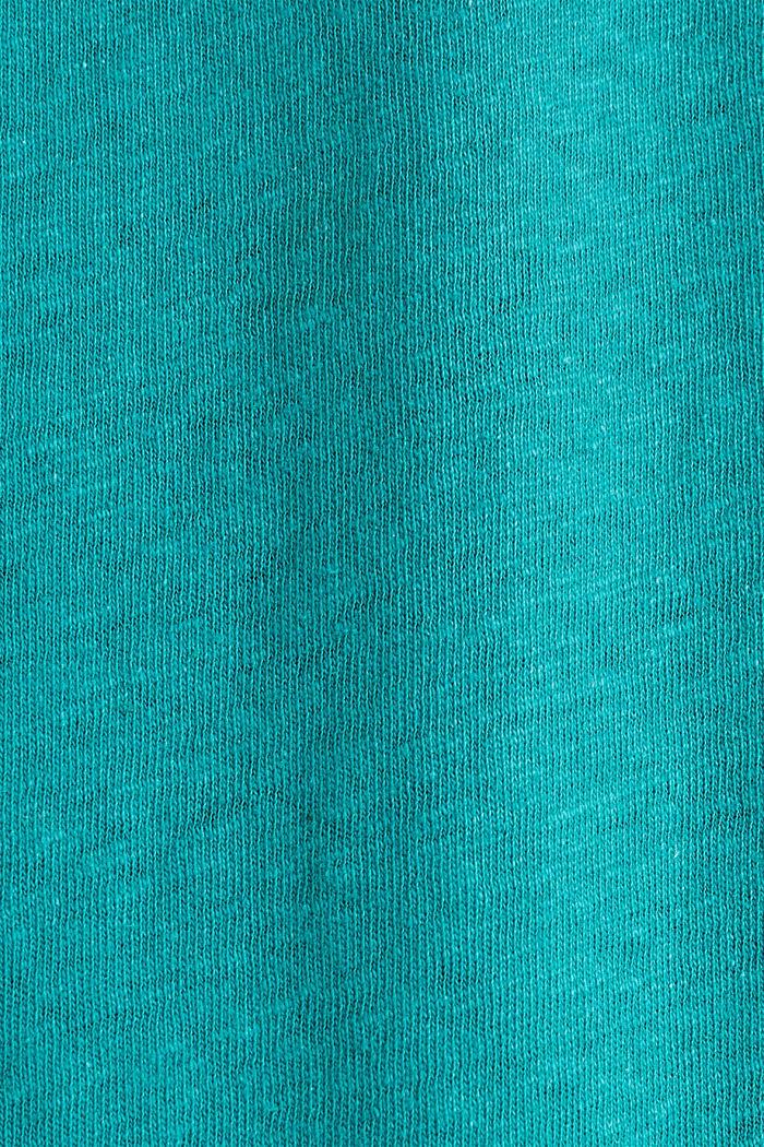 Aus Leinen-Mix: Gummizug-Shirt, TEAL GREEN, detail image number 4