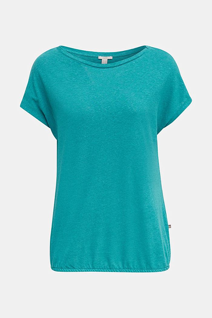 Aus Leinen-Mix: Gummizug-Shirt, TEAL GREEN, detail image number 6