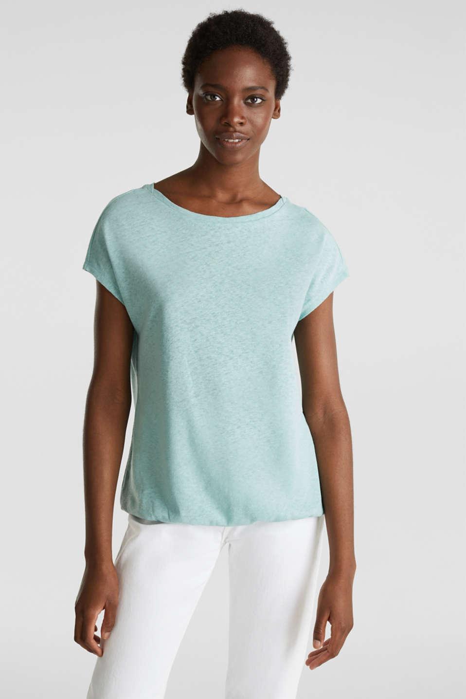 Linen blend: Stretchy top, LIGHT AQUA GREEN 4, detail image number 0