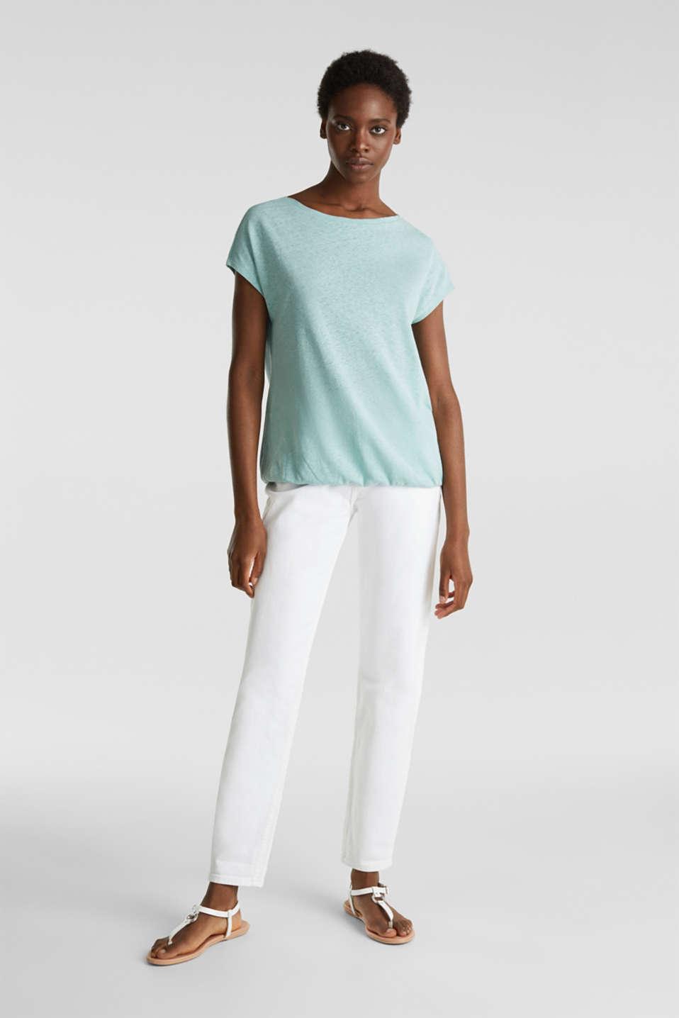 Linen blend: Stretchy top, LIGHT AQUA GREEN 4, detail image number 1