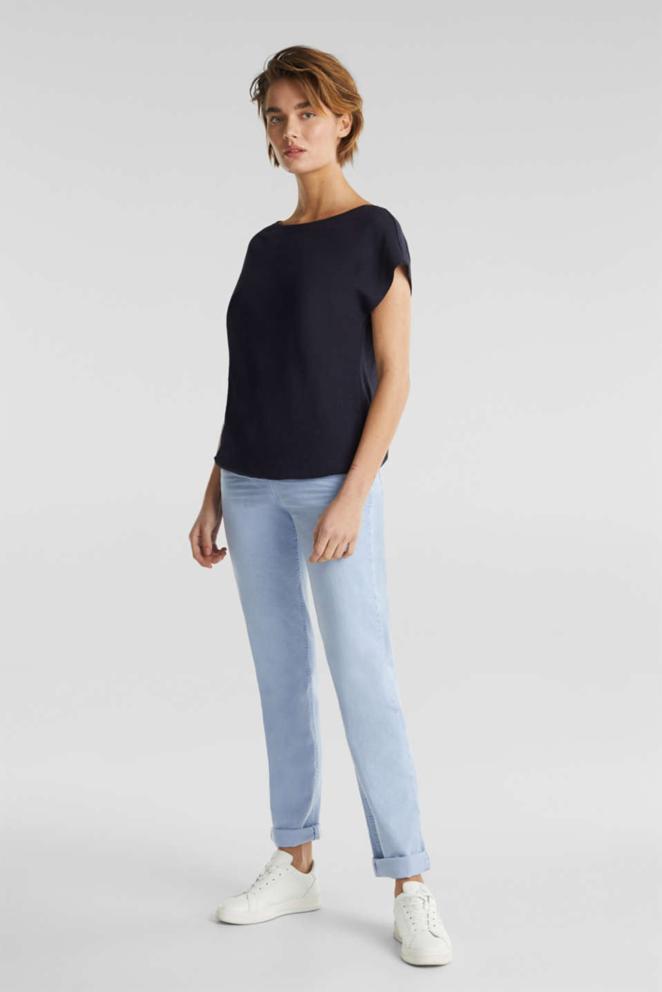 Linen blend: Stretchy top, NAVY, detail image number 1