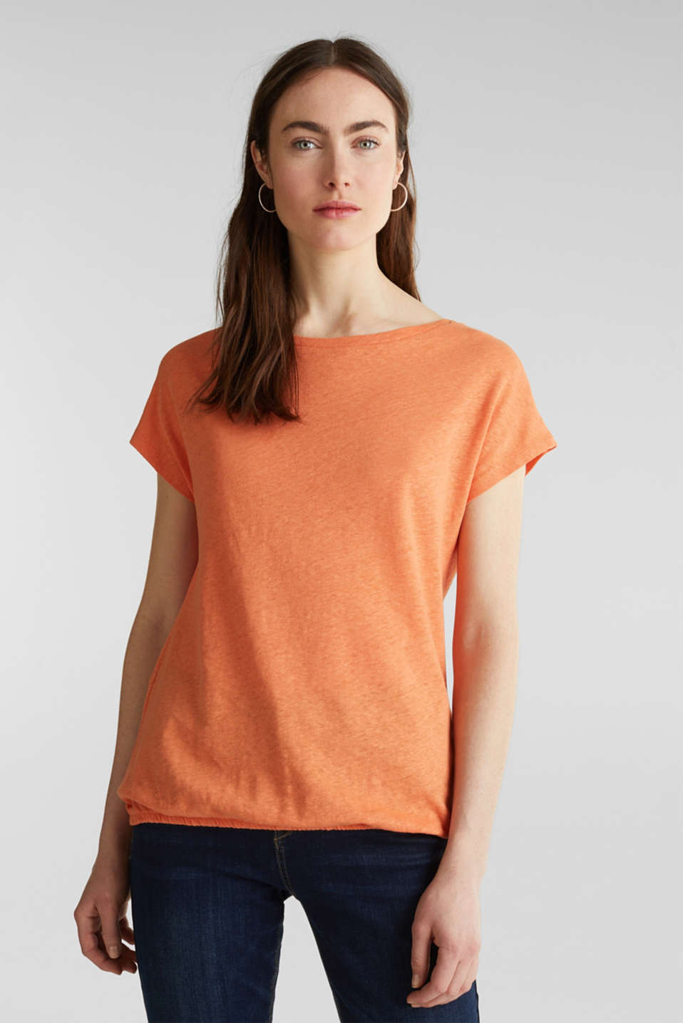 Made of blended linen: top with an elasticated hem, RUST ORANGE 4, detail image number 0