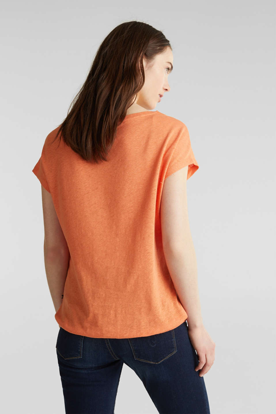 Made of blended linen: top with an elasticated hem, RUST ORANGE 4, detail image number 2
