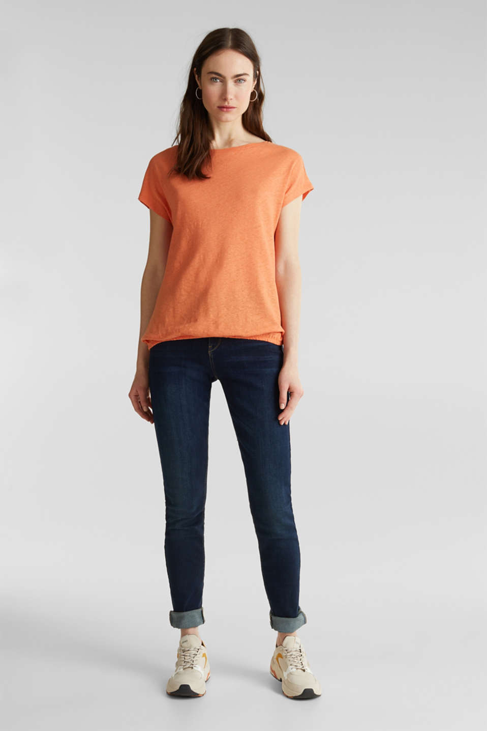 Made of blended linen: top with an elasticated hem, RUST ORANGE 4, detail image number 1
