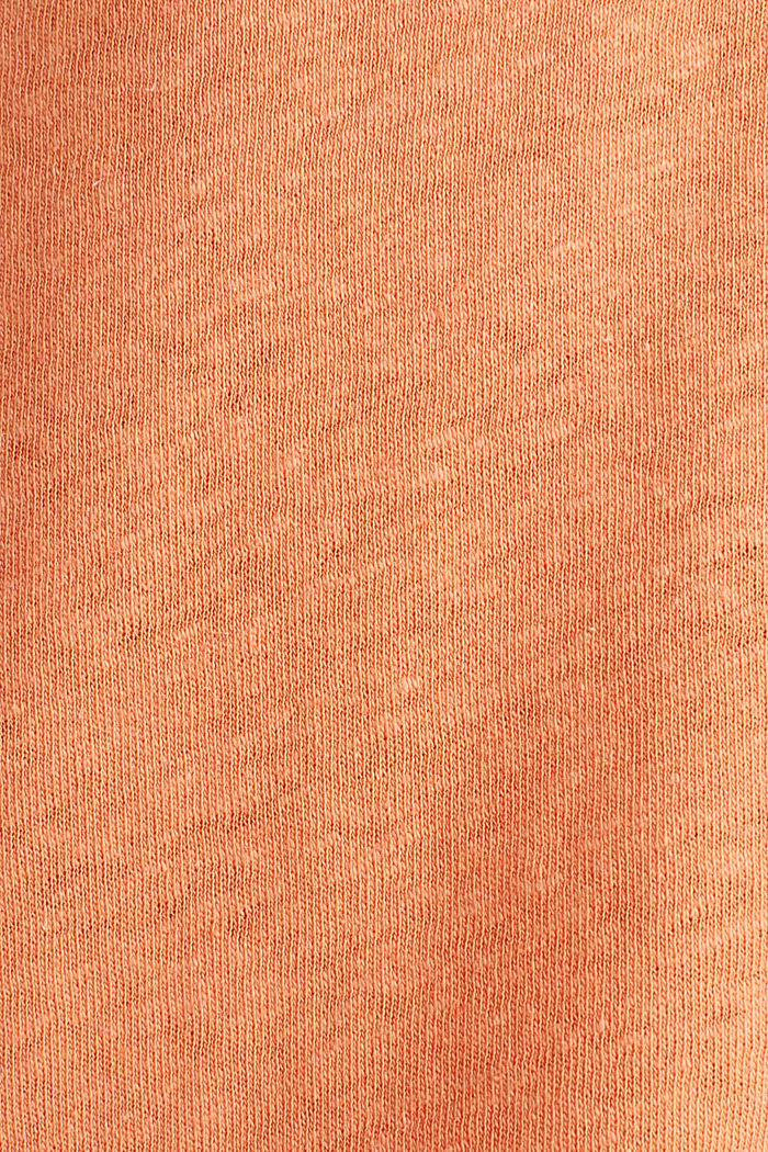 Aus Leinen-Mix: Gummizug-Shirt, RUST ORANGE, detail image number 3