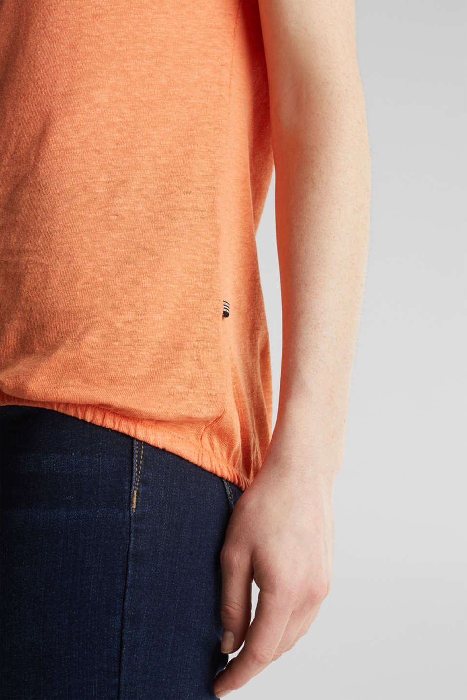 Made of blended linen: top with an elasticated hem, RUST ORANGE 4, detail image number 4